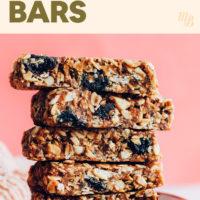 Stack of cherry almond granola bars