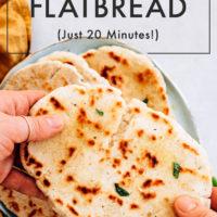 Holding a gluten free flatbread