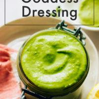 Jar of homemade green goddess dressing