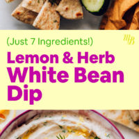 Bowls of lemon and herb white bean dip