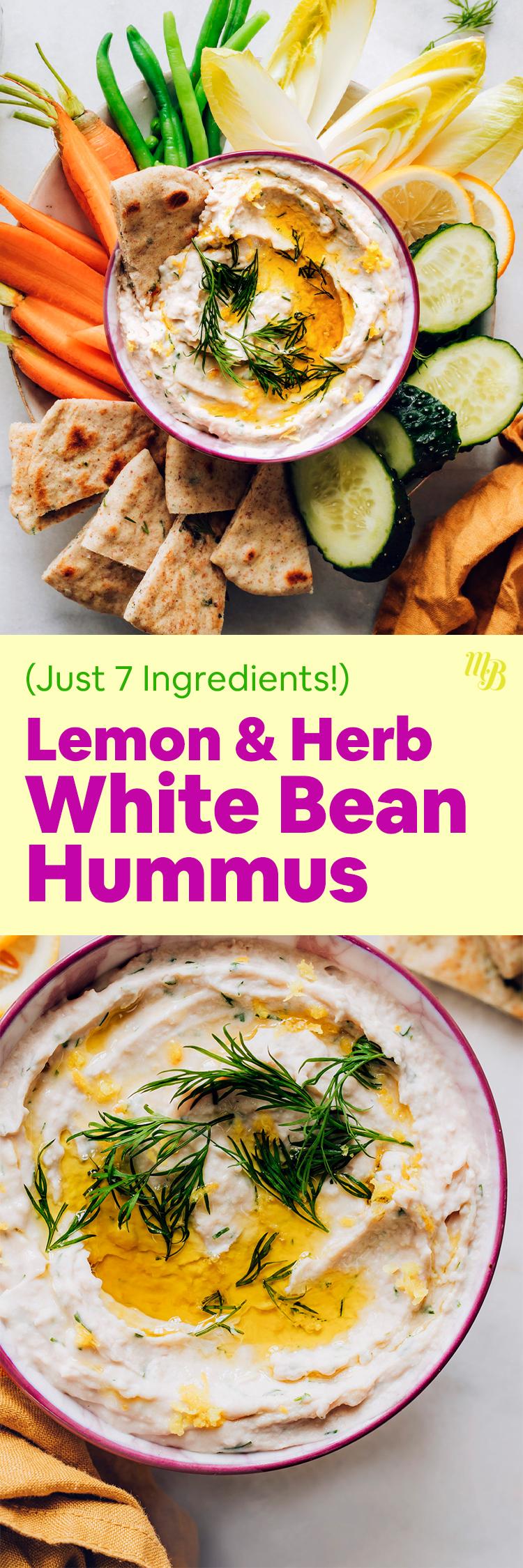 Чаши с лимоном и зеленью хумус из белой фасоли