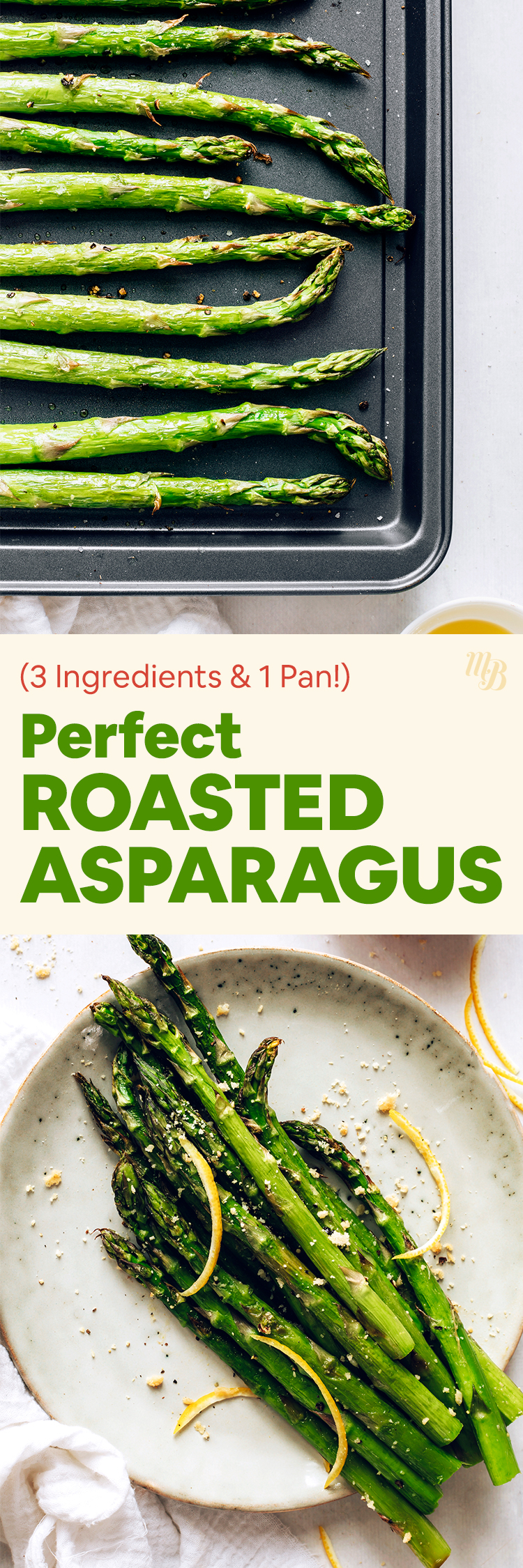Baking sheet and plate with perfect roasted asparagus