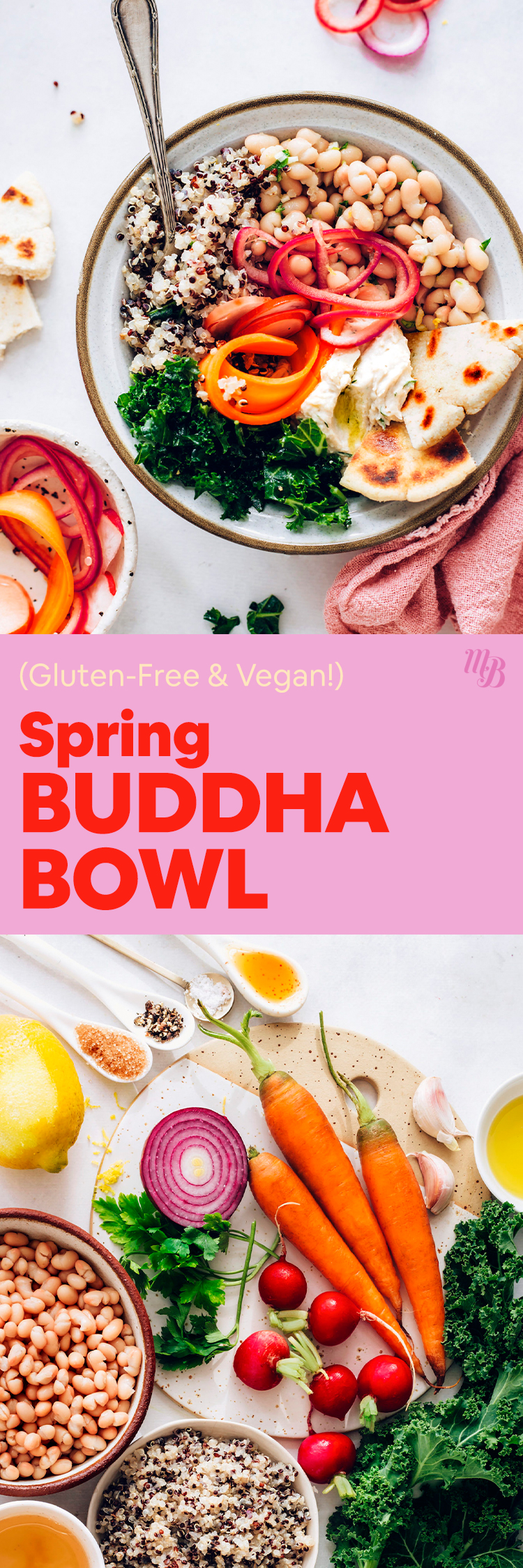 Ingredients and bowl with our spring Buddha bowl recipe