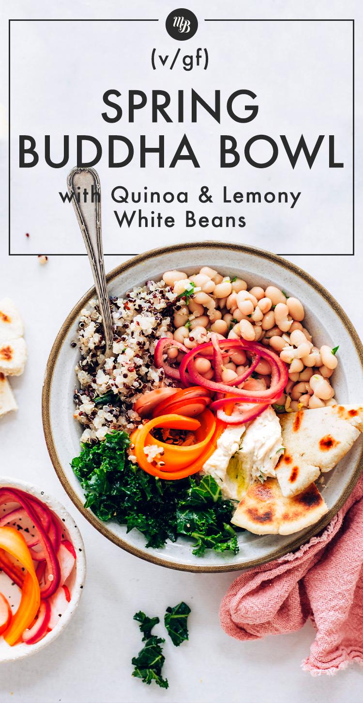 Bol Spring Buddha avec quinoa, légumes, houmous et pain plat sans gluten