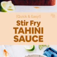 Jar and bowl of our tahini stir fry sauce