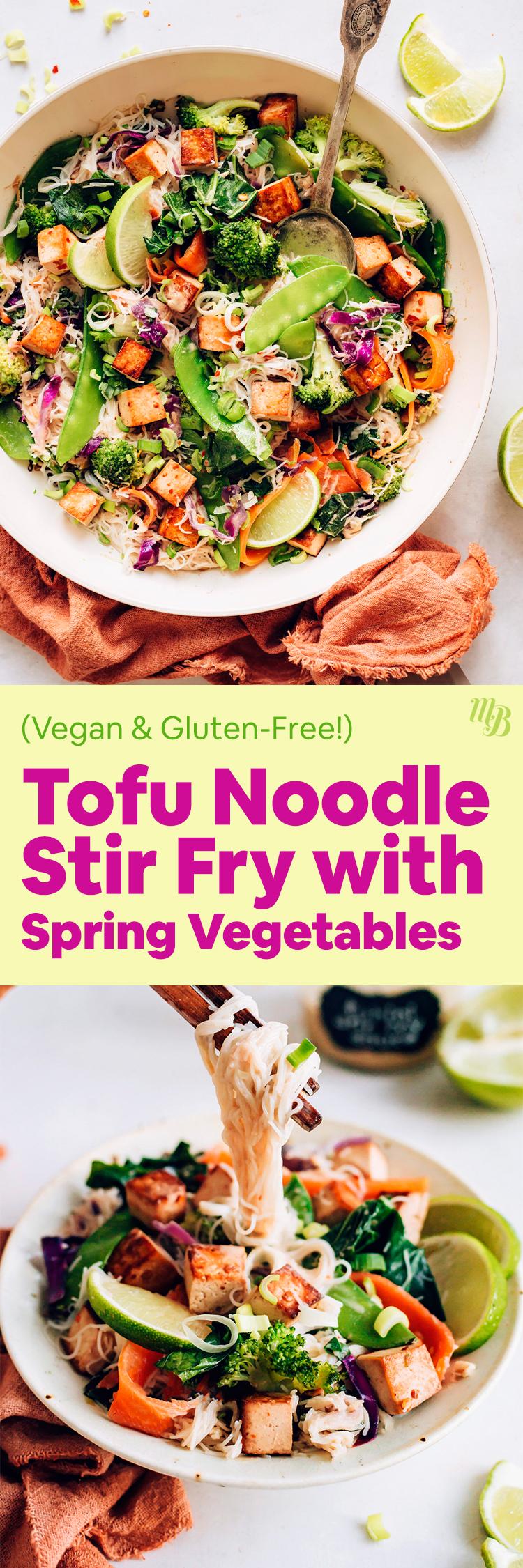 Tazones de fideos de tofu salteados con verduras de primavera y salsa tahini