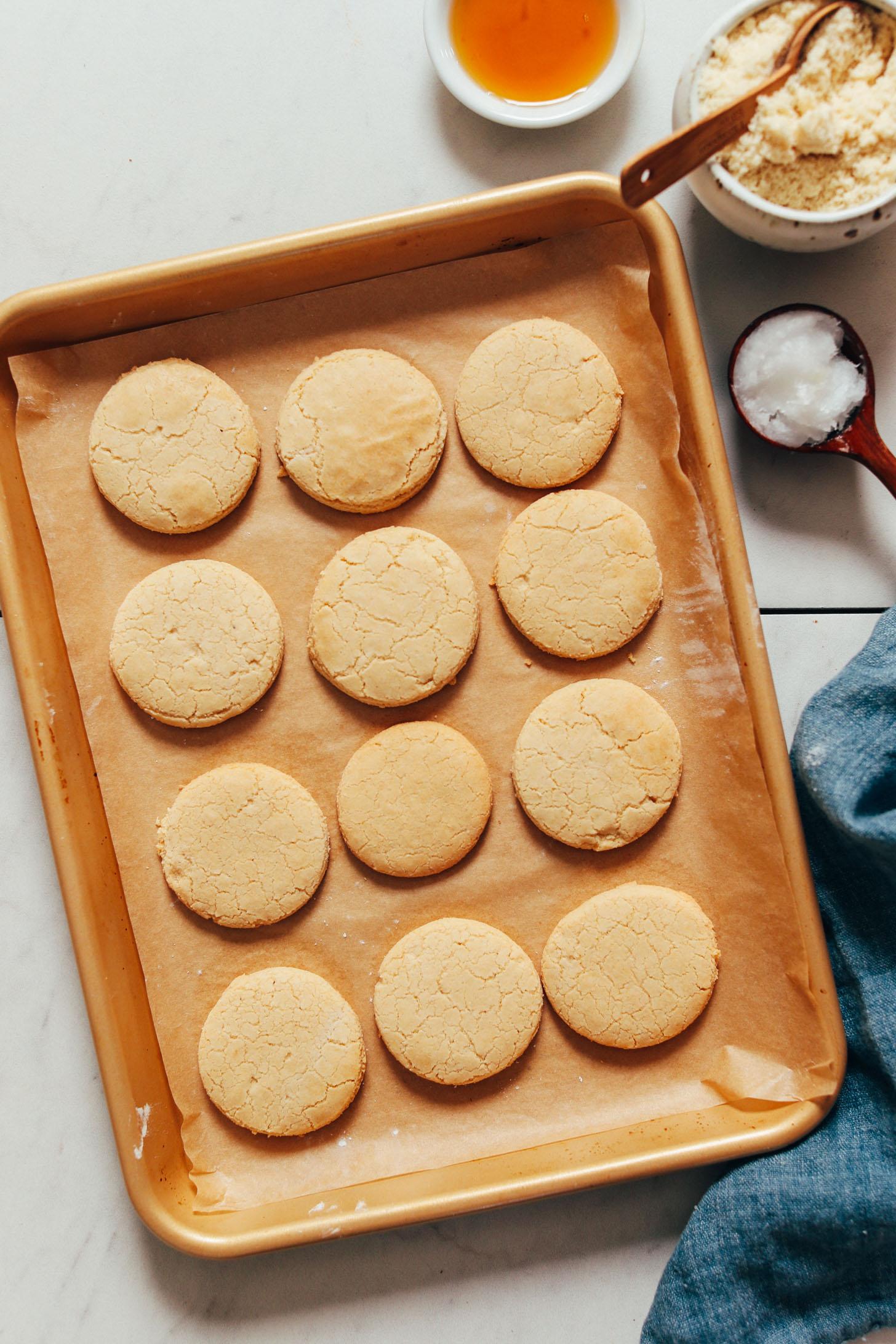 Vegan gluten-free shortbread cookies on a baking sheet