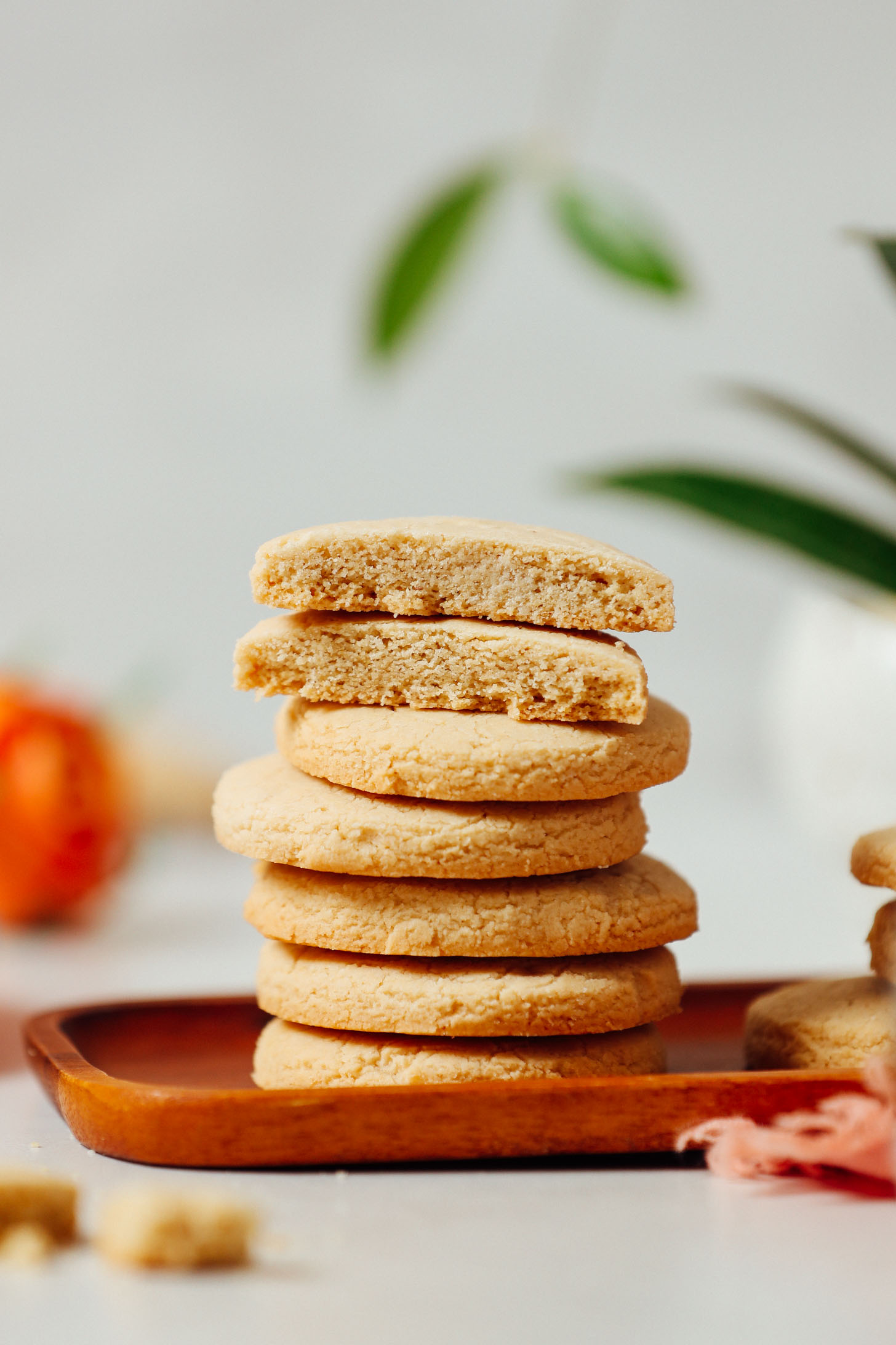 Stack of crispy gluten-free shortbread cookies made with coconut oil