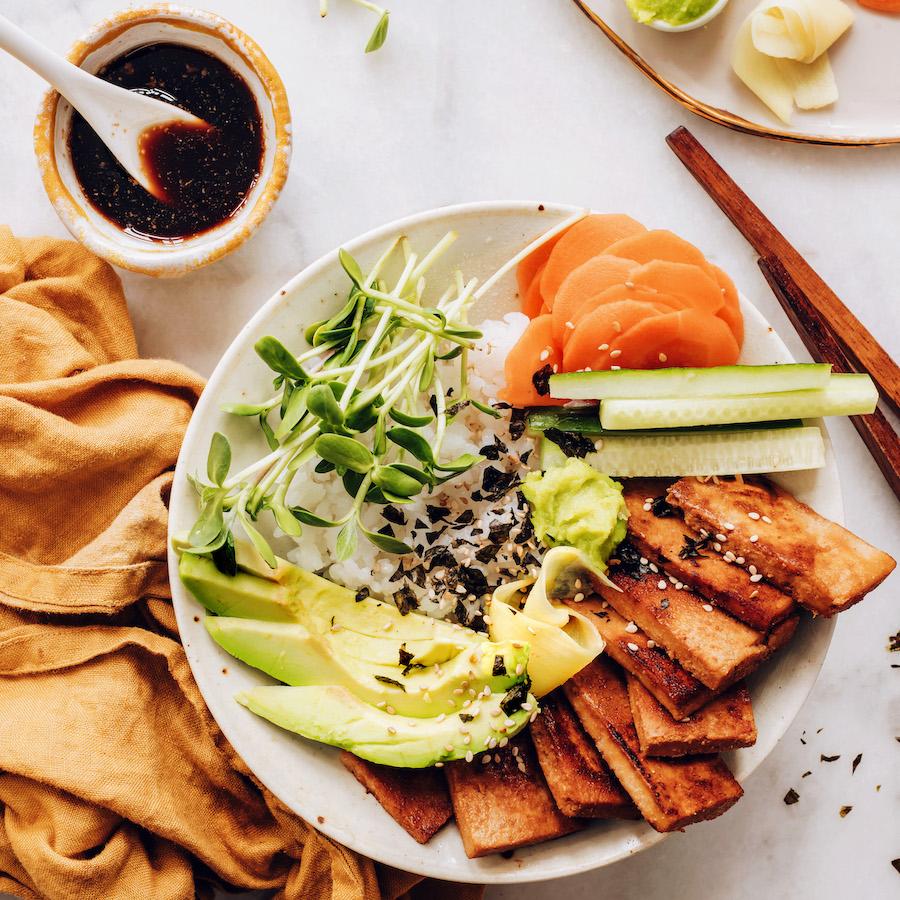 Tamari and a vegan sushi bowl with ginger marinated tofu
