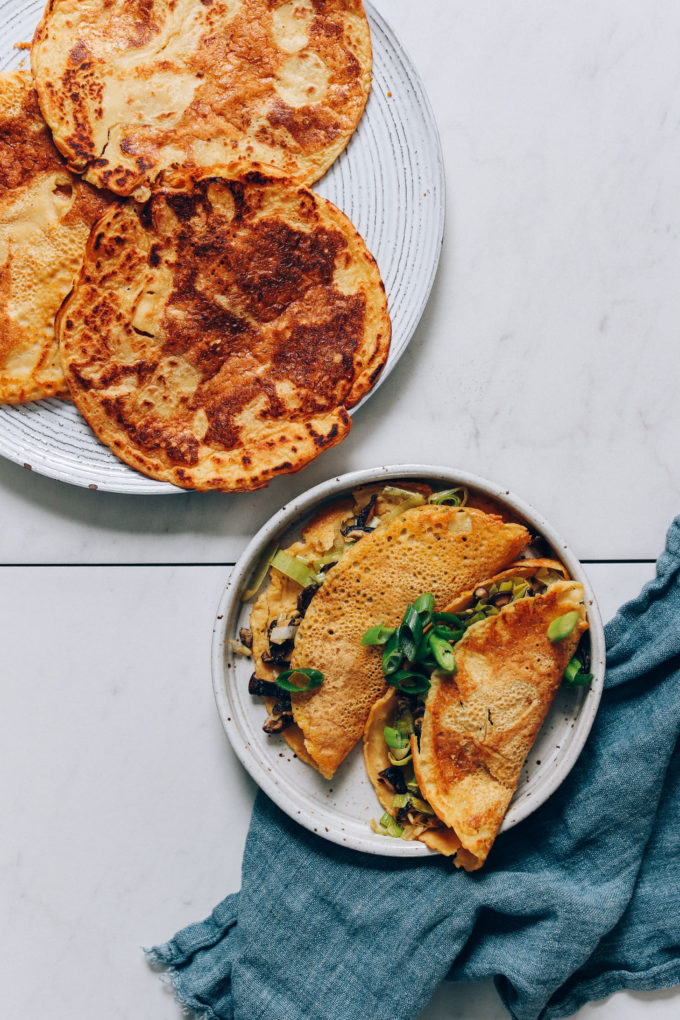 Savory Chickpea Pancakes with Leek and Mushrooms