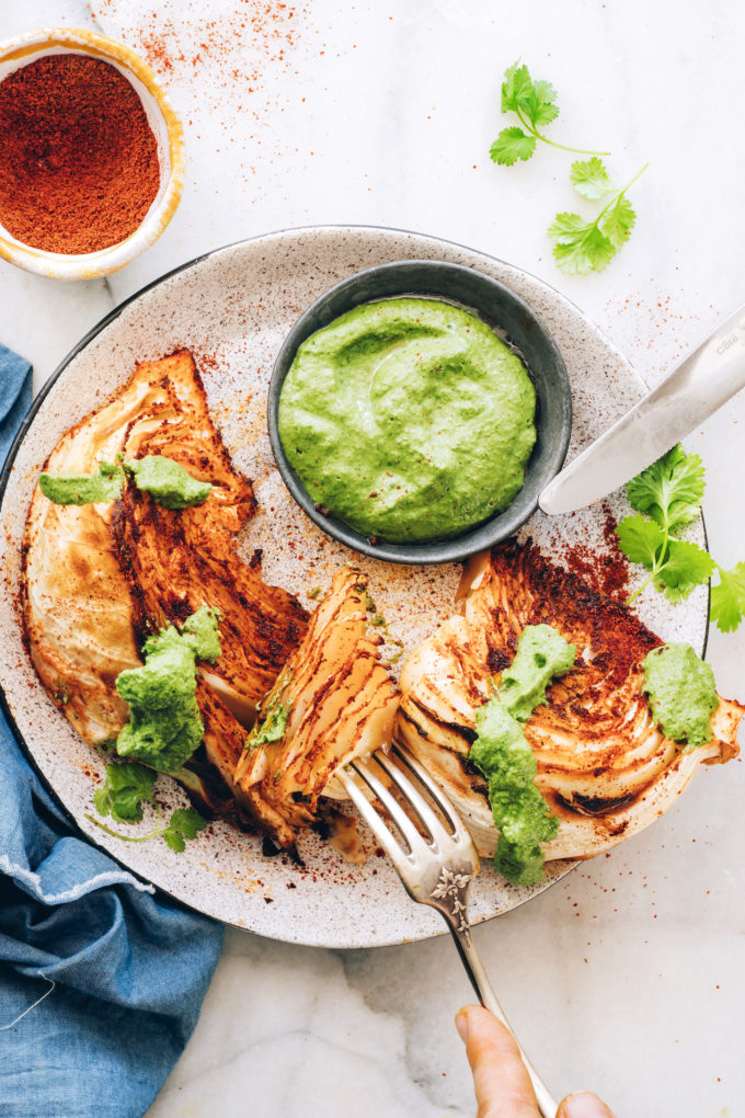 Shawarma Roasted Cabbage Wedges with Green Chutney