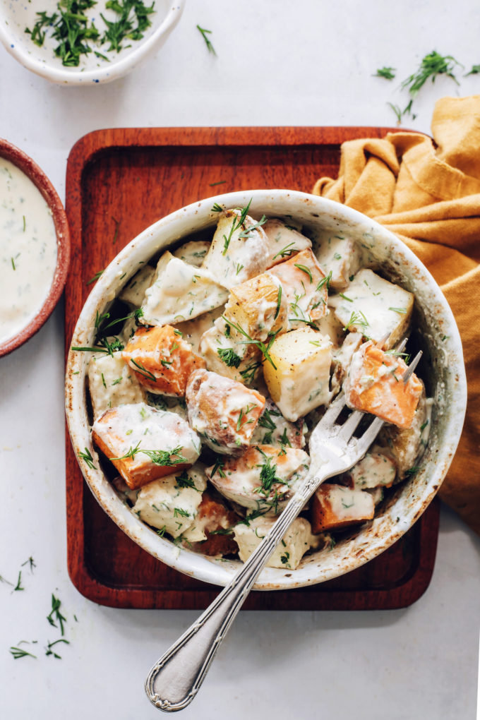 Easy Roasted Potato Salad with Garlic Dill Dressing