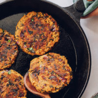Cooking sweet potato fritters in a cast iron skillet