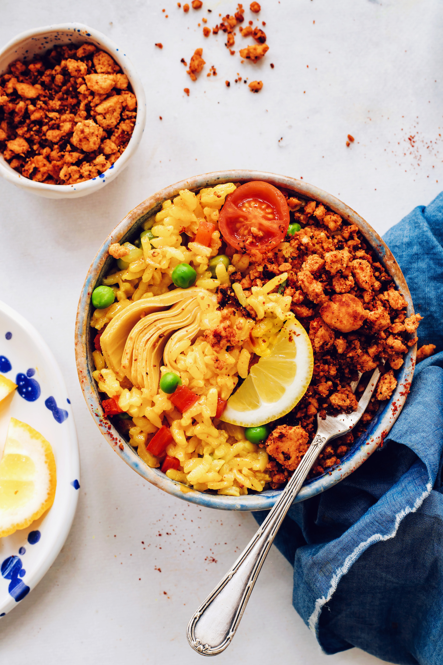 Bowl of vegan paella with tofu chorizo
