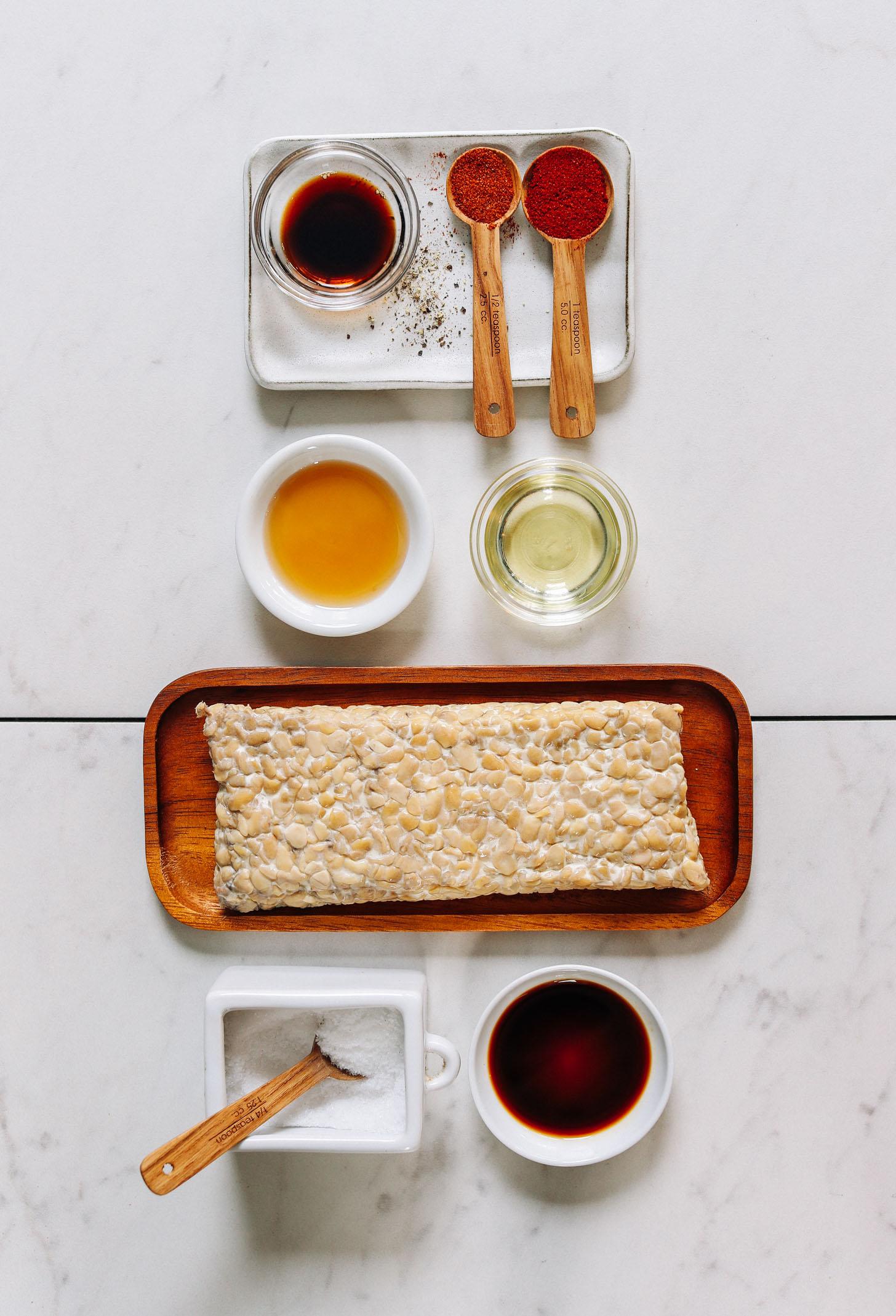 Tamari, cayenne, smoked paprika, maple syrup, avocado oil, tempeh, salt, and liquid smoke