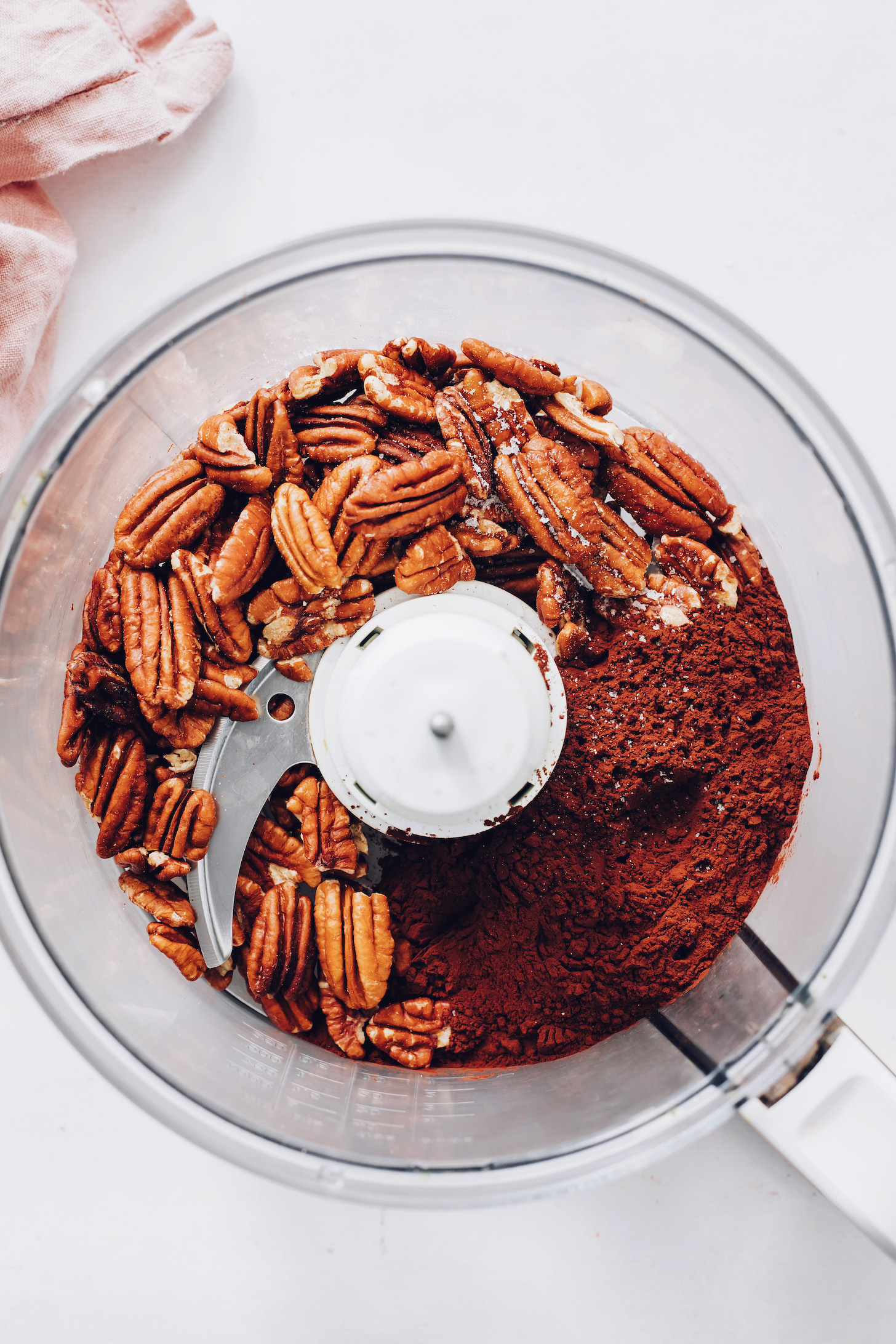 Pecans, salt, and cocoa powder in a food processor