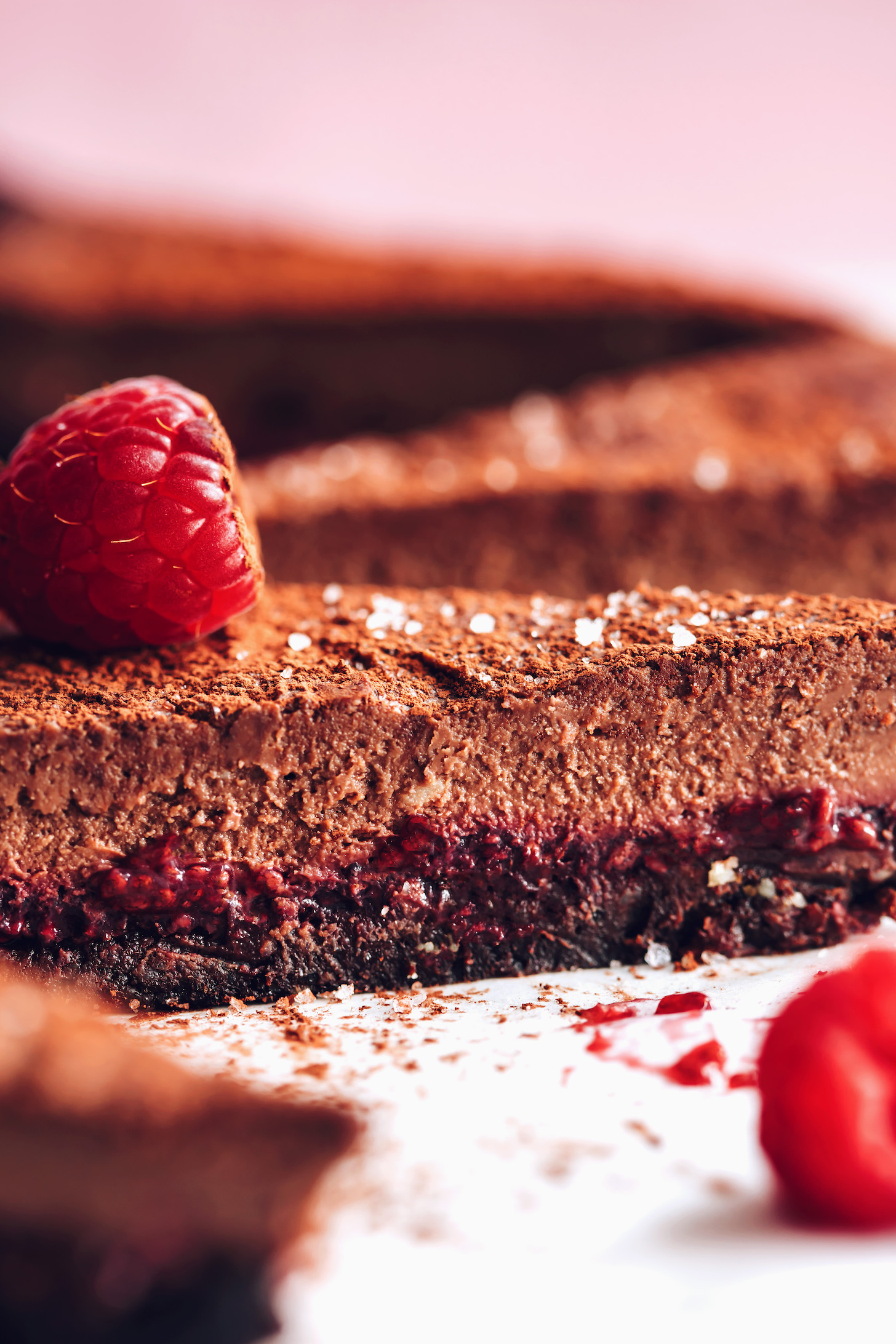 Slices of our vegan chocolate ganache tart