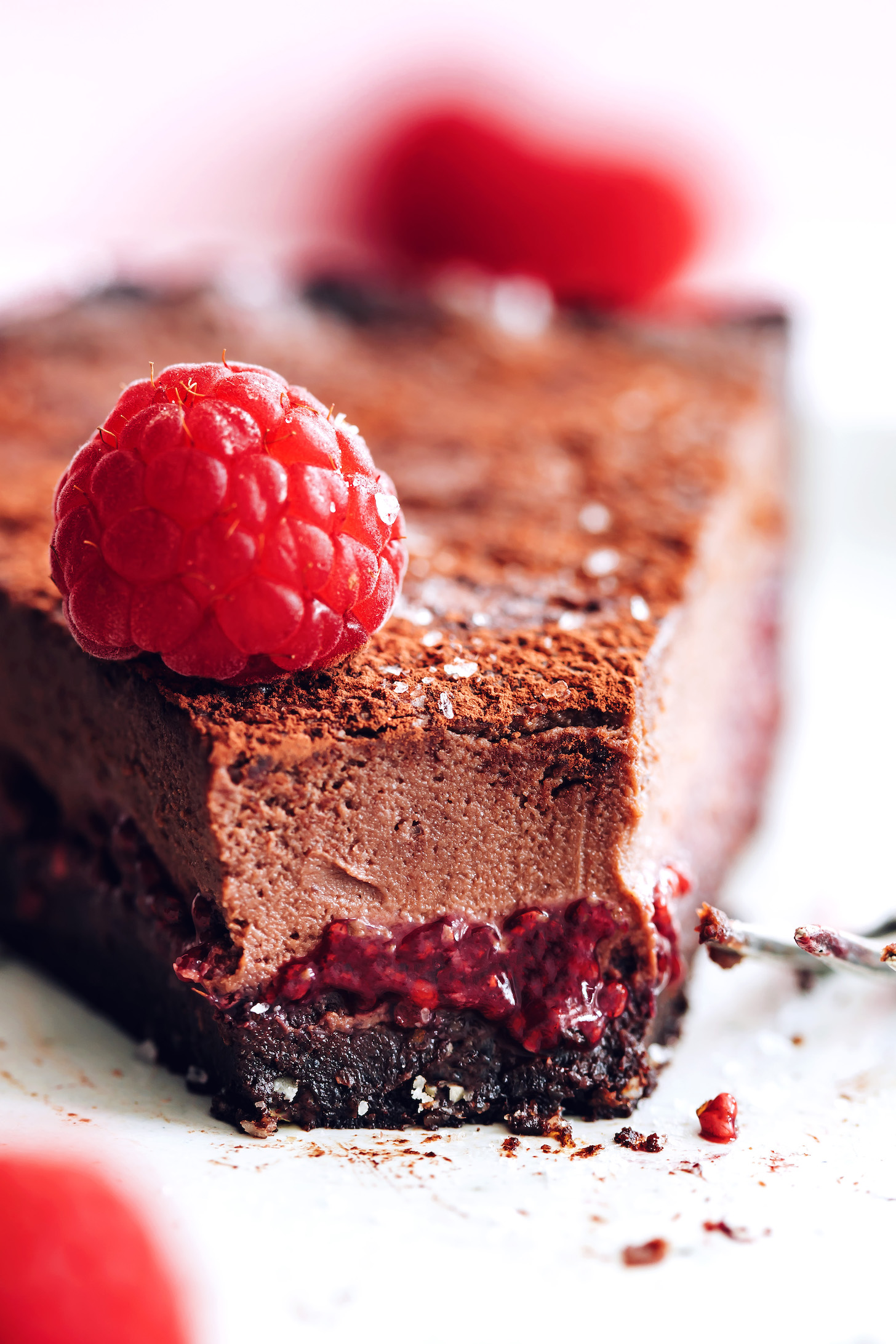 Slice of our vegan chocolate ganache tart topped with a fresh raspberry