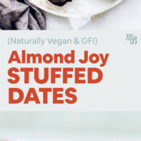 Plates of almond joy stuffed dates