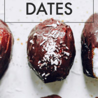 Almond joy stuffed dates on a white background