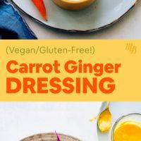 Jar of vegan and gluten-free carrot ginger dressing and salad with carrot ginger dressing on top