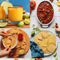 Gallery of easy Cinco de Mayo recipes, homemade tortillas, easy vegan queso dip, homemade salsa, and homemade margarita