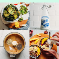 Collage of plant-based earth day recipes