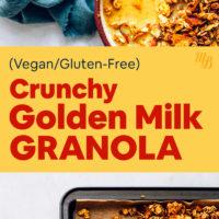 Baking sheet and bowl of vegan crunchy golden milk granola with fresh almond milk