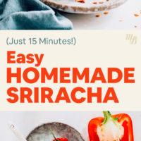 Ingredients and jar of homemade sriracha