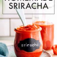 Spoon in a jar of easy homemade sriracha