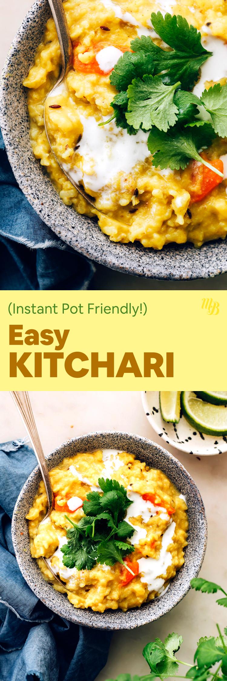 Cuencos de Kitchari vegano fácil de preparar instantáneamente