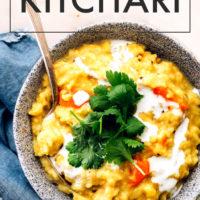 Bowl of easy instant-pot vegan Kitchari
