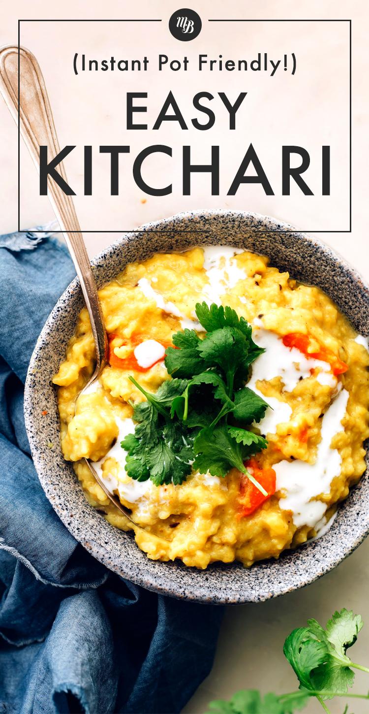 Tazón de Kitchari vegano fácil de preparar instantáneamente