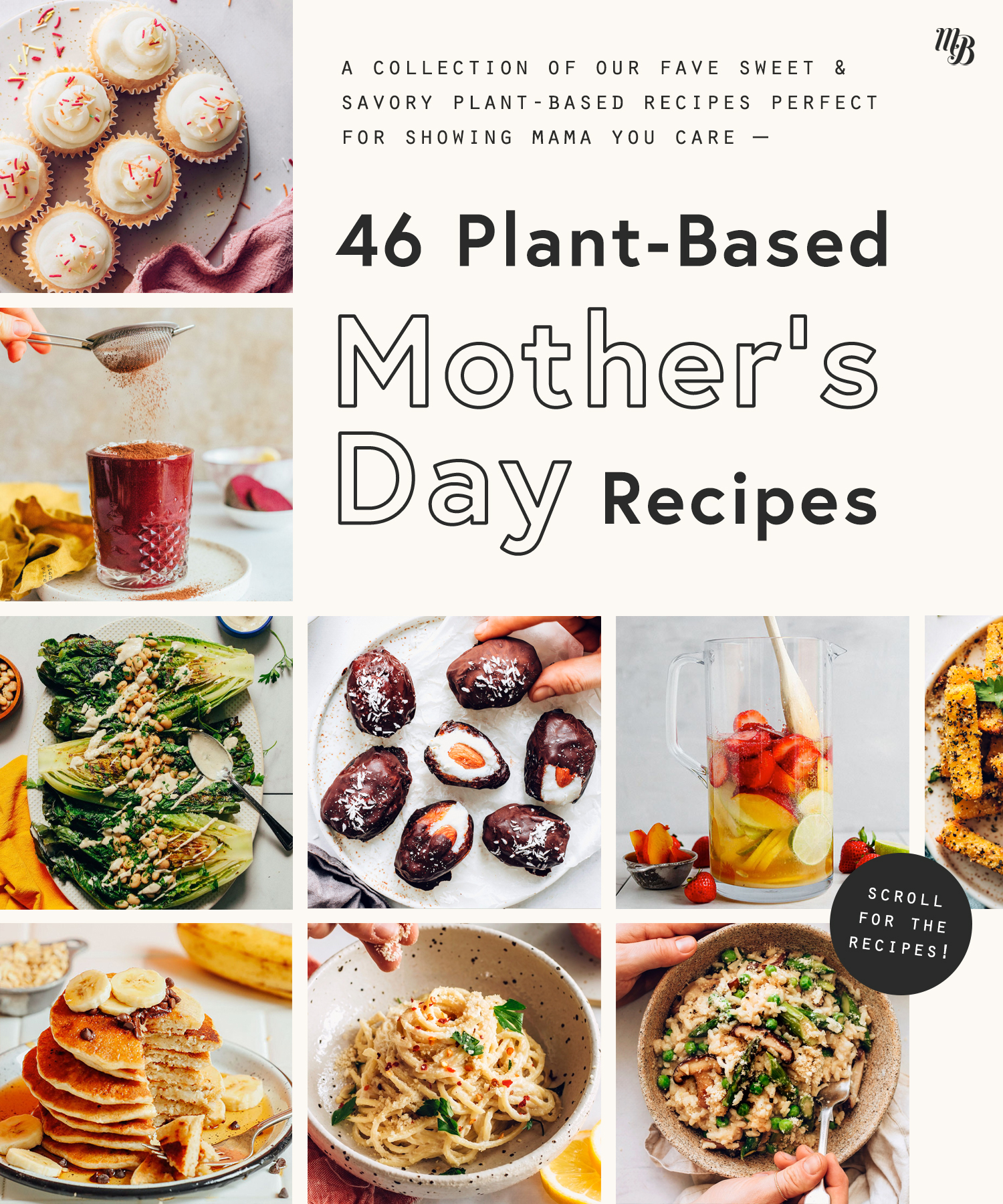 Assortment of plant-based mother's day recipes