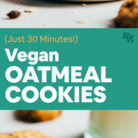 Stack and plate of vegan & gluten-free oatmeal cookies