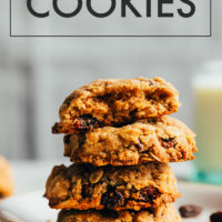Stack of vegan and gluten-free oatmeal cookies on a plate