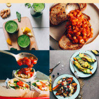 Assortment of photos of healthy plant-based breakfast recipes