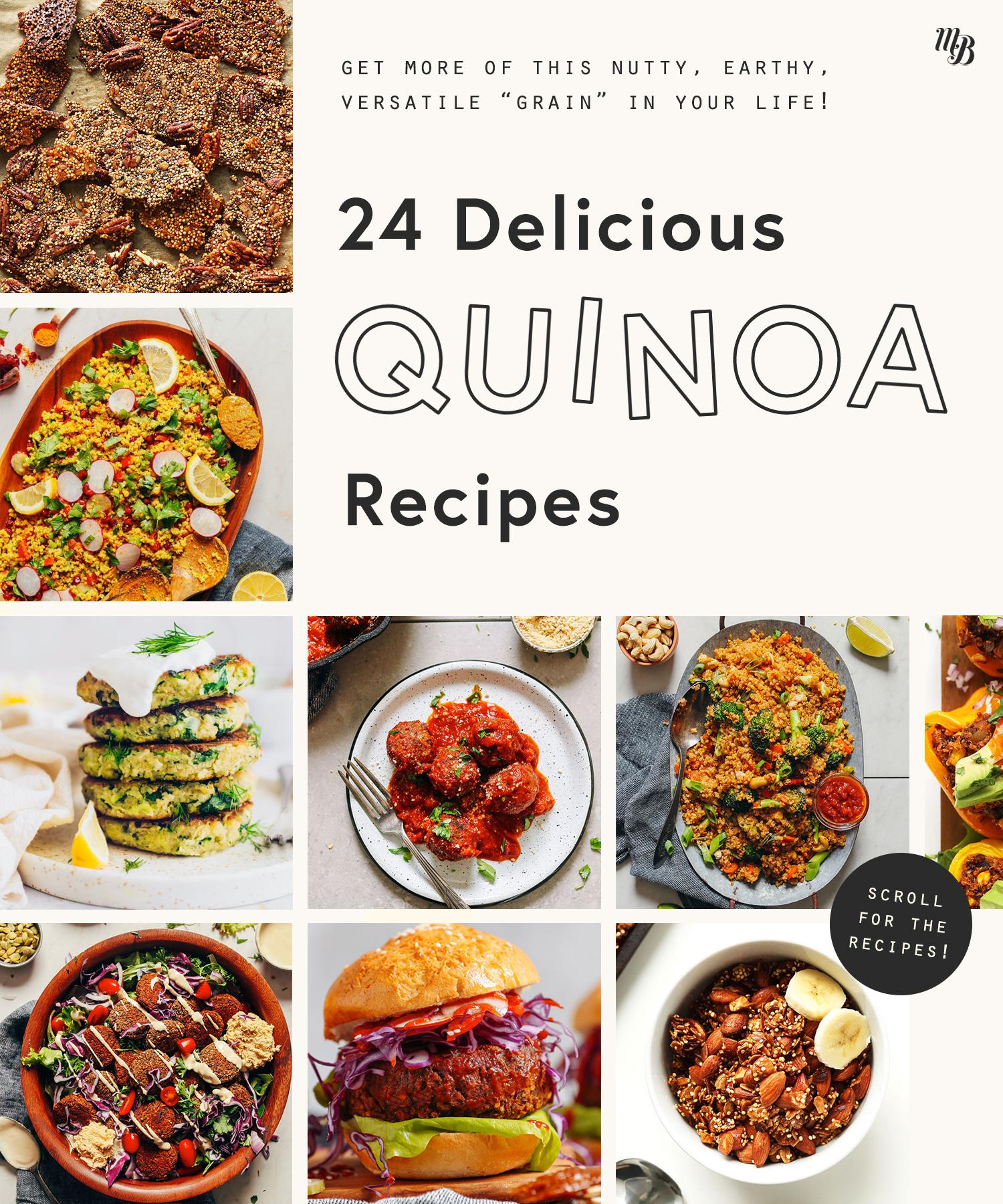 Assortment of delicious quinoa recipes