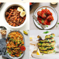 Four pictures of vegan and gluten-free quinoa recipes