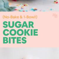 Stack of vegan and gluten-free no-bake sugar cookie bites