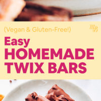 Stack and plate of vegan & gluten-free homemade twix bars