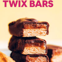 Stack of vegan and gluten-free twix bars