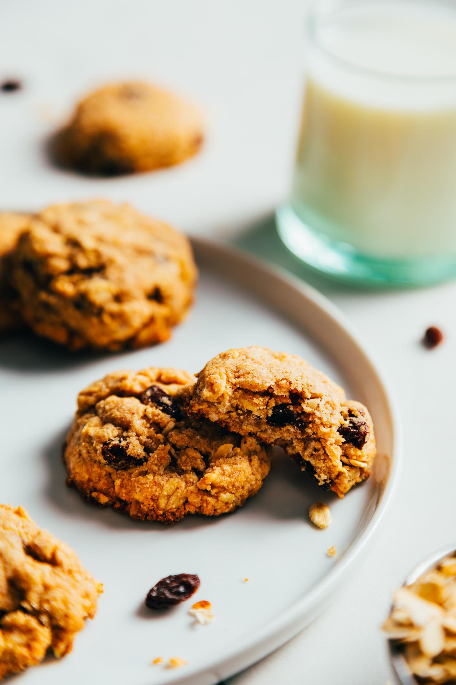 Vegan oatmeal raisin cookies on a plate