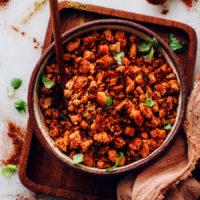 Bowl of vegan chorizo