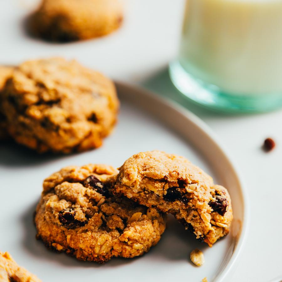 Gluten-free vegan oatmeal cookies on a plate