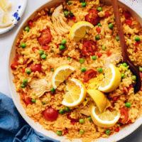 Pan of our vegan paella recipe