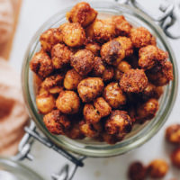 Top down shot of a jar of our bbq roasted chickpeas recipe