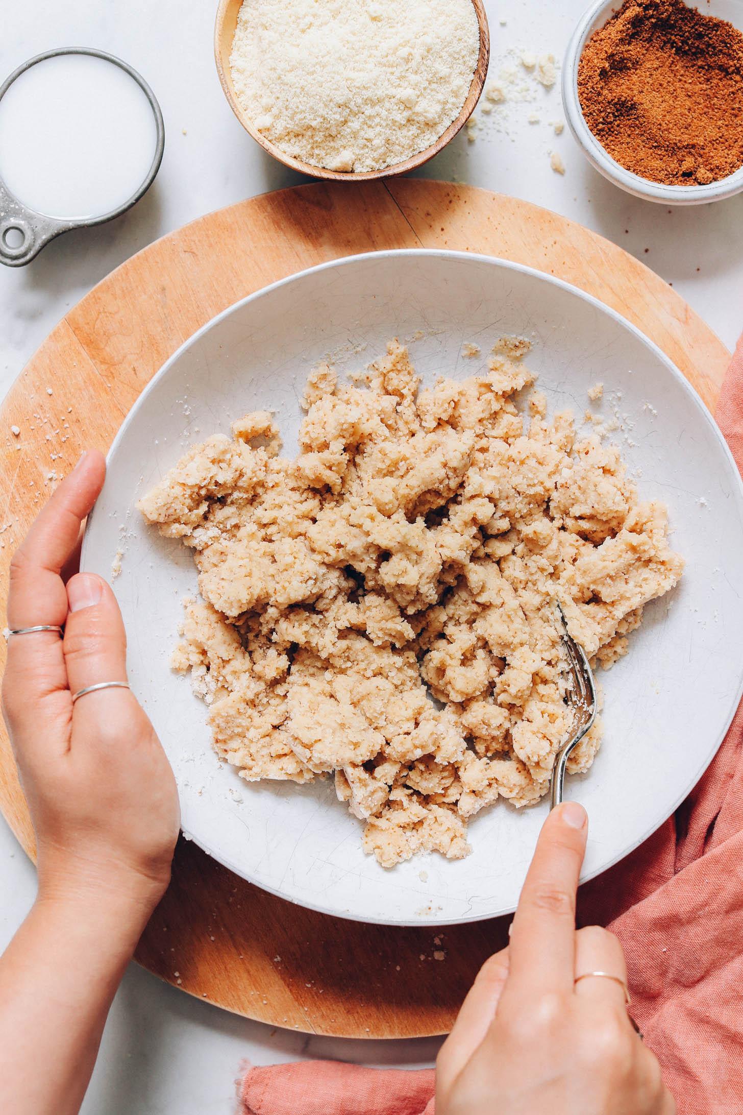 Mixing gluten-free cobbler dough
