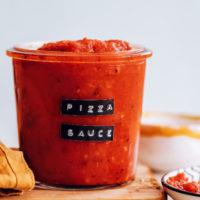 Jar of homemade pizza sauce