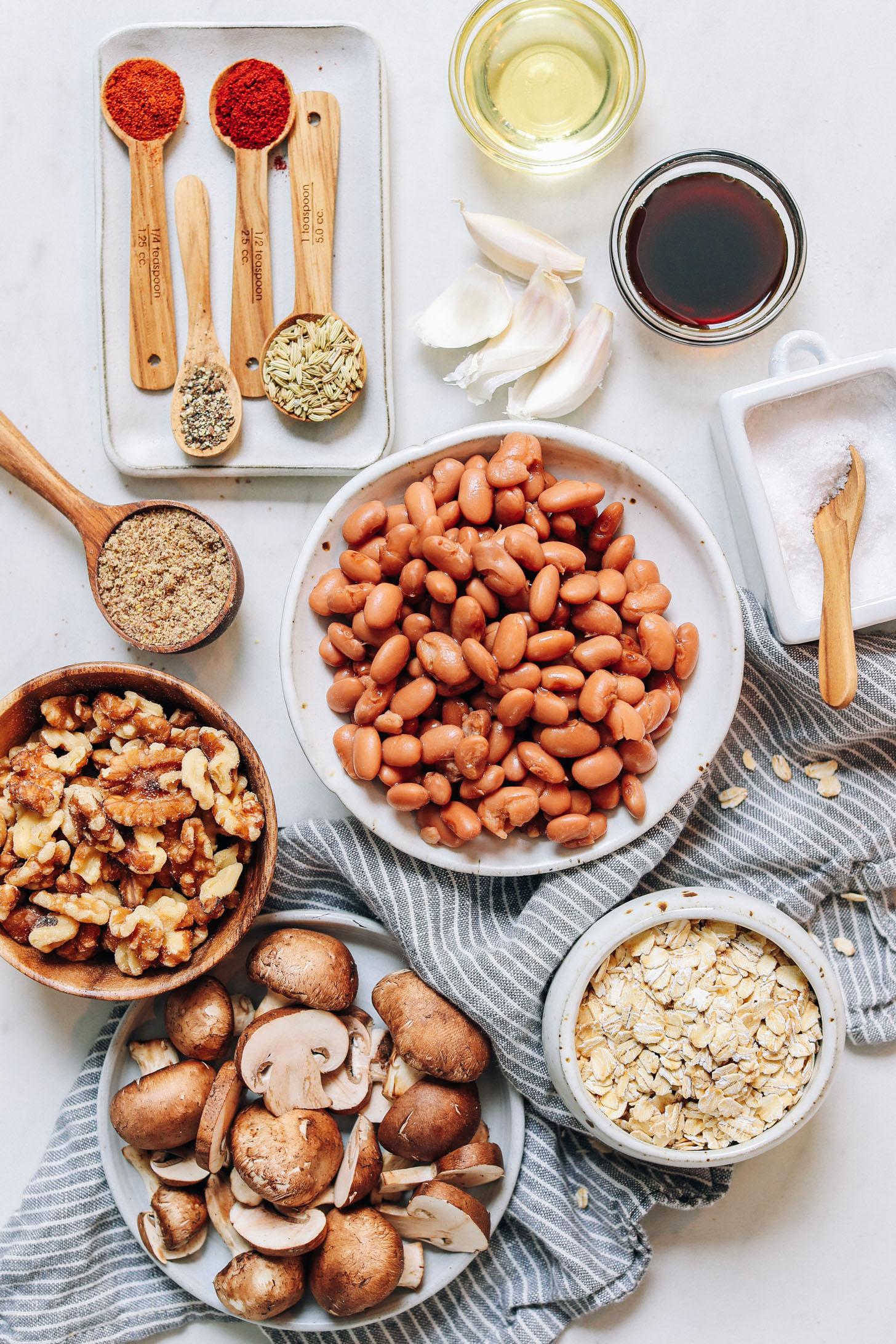 Avoine, champignons, noix, haricots pinto, graines de lin, épices, ail, huile d'avocat, acides aminés de noix de coco et sel